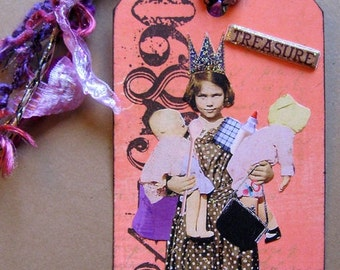 Collaged Shipping Tag - Altered Art - Whimsical Vintage Young Girl - FREE US SHIP