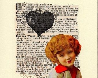 Collaged Postcard - Valentine - Mixed Media Original