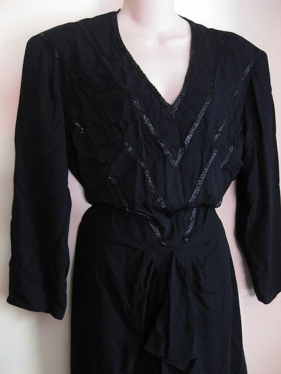 Plus Size Vintage 1940s Black Rayon Crepe Noir Dre