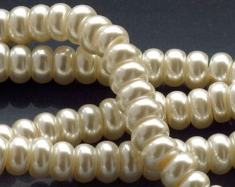 Off White Rondelle Glass Pearl Beads 6x4mm Half Strand