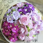 70 pcs . Miniature Purple Paper Flowers . Small Paper Flowers with Stems