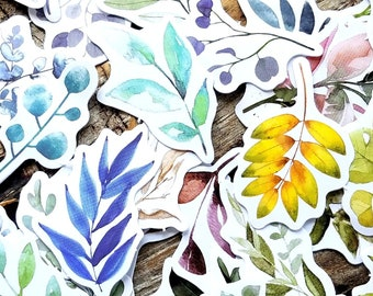 50 pcs . Watercolor Botanical Stickers . Bohemian Stickers . Art Journal Supplies . Pen Pal Stickers . Stationary Stickers . Nature Stickers