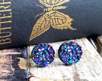 Ultra Violet Druzy Earrings . Surgical Steel Studs . Best Friend Birthday . Faux Plugs . Druzy Stud Earrings . Gift for Best Friend Birthday