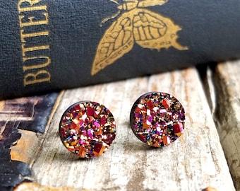 Rose Gold Druzy Earrings . Best Friend Birthday Gift . Surgical Steel Stud Earrings . Faux Plugs Earrings . Valentine's Day Gift for Her