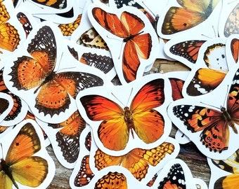 45 pcs . Orange Butterfly Stickers . Art Journal Stickers . Planner Stickers . Fall Stickers . Junk Journal Supplies . Orange Sticker Pack