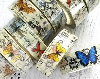 Butterfly Botanical Washi Tape . 15mm x 10m . Art Journal Supplies . Planner Washi . Junk Journal Washi Tape . Nature Script Washi Tape