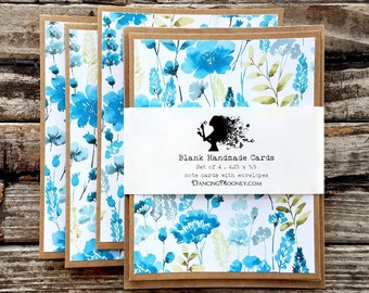 Blank Note Cards with Envelopes . Set of 4 . Blue Watercolor Floral Note Cards Set . Thank You Note Cards . Fall Botanicals Blank Cards Set