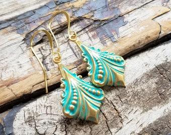 Mint Gold Earrings . Best Friend Birthday Gift . Lightweight Earrings . Bohemian Earrings . Dangle Earrings . Boho Jewelry . Gift for Mom