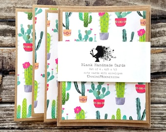 Blank Note Cards with Envelopes . Set of 4 . Cactus Note Cards . Pen Pal Stationary . Cactus Thank You Notes . Eco Friendly Gift Ideas