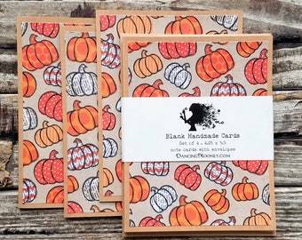 Halloween Note Cards with Envelopes . Set of 4 . Blank Pumpkin Greeting Cards Set . Eco Friendly Gifts for Fall . Pumpkin Notecards Set