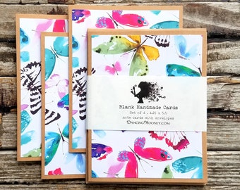 Butterfly Note Cards with Envelopes . Set of 4 . Spring Summer Blank Notecards . Handmade Note Cards Set . Note Cards with Envelopes Set