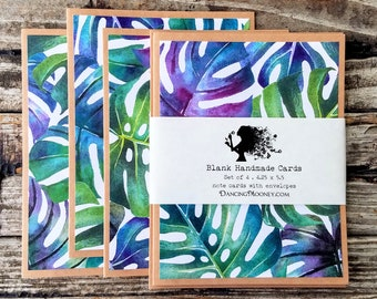 Blank Note Cards with Envelopes . Set of 4 . Monstera Leaf Watercolor Note Cards with Envelopes . Blank Greeting Cards . Eco Friendly Gifts