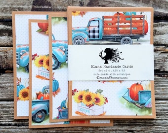 Blank Note Cards with Envelopes . Set of 4 . Fall Note Cards . Vintage Truck Fall Greeting Cards . Thanksgiving Teal Sunflowers Pumpkins