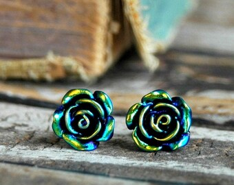 Black Rose Earrings . Surgical Steel Stud Earrings . Best Friend Birthday Gift . Rose Stud Earrings . Long Distance Gift for Best Friend