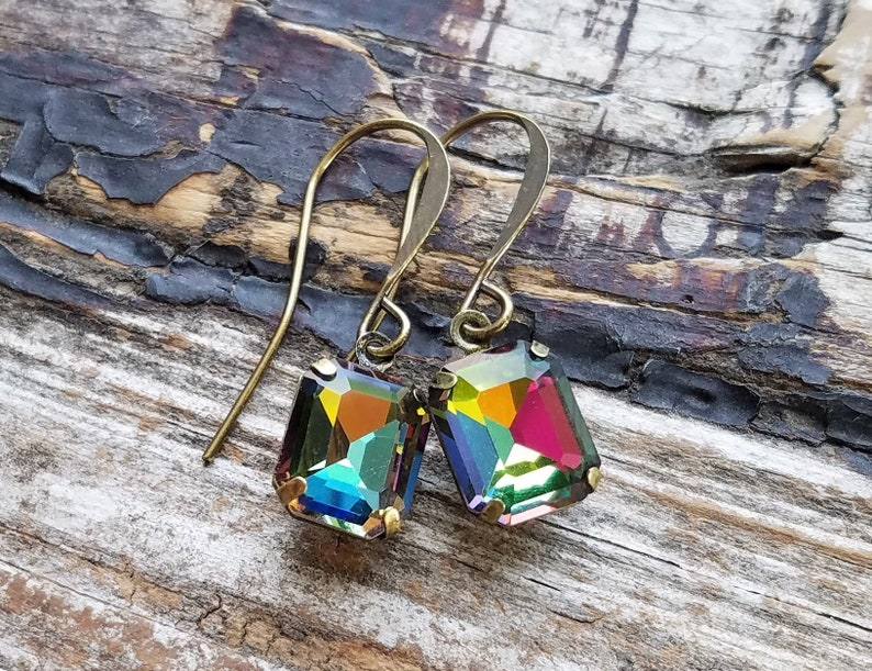 Aurora Borealis Earrings . Rhinestone Dangle Earrings . image 0