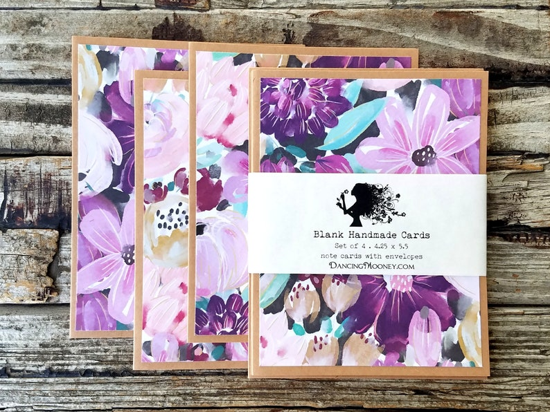 Floral Note Cards with Envelopes . Set of 4 . Flower Greeting image 0