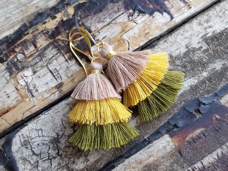 Ombre Tassel Earrings . Gold Statement Earrings . Nude Mustard image 0