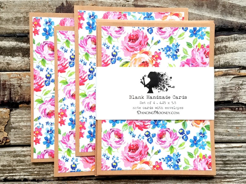 Floral Note Cards with Envelopes . Set of 4 . Colorful Blank image 0