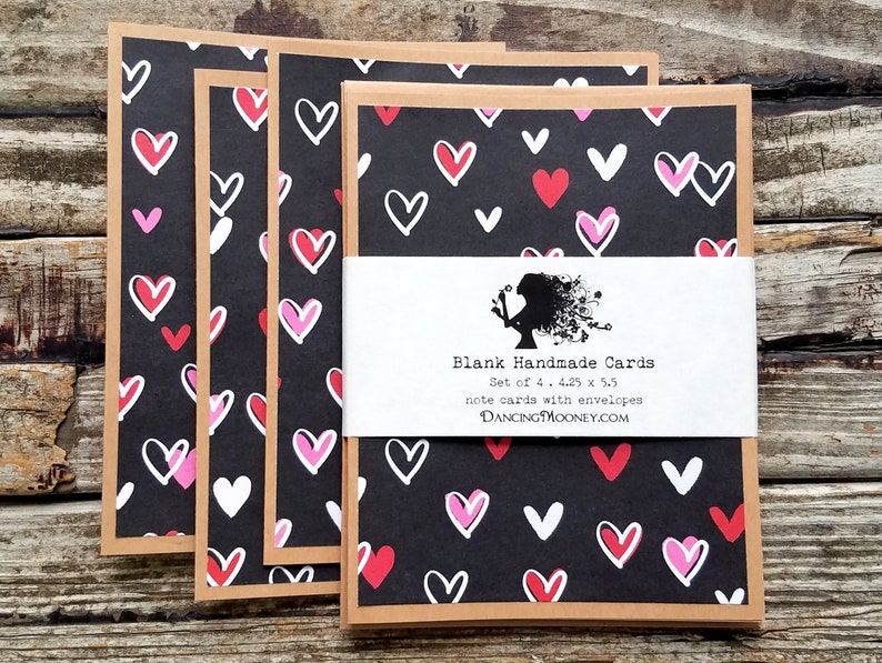Handmade Valentine's Day Cards with Envelopes . Set of 4 . image 0