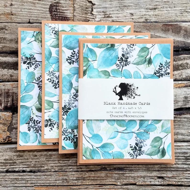 Blank Note Cards with Envelopes . Set of 4 . Nature Leaf image 0