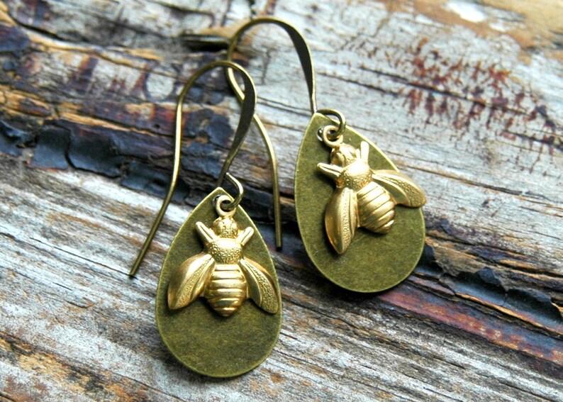 Bee Earrings . Bohemian Jewelry . Best Friend Gift . Bee image 0