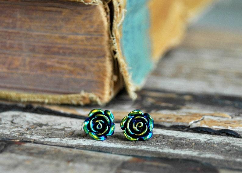 Black Rose Earrings . Surgical Steel Stud Earrings . Best image 0