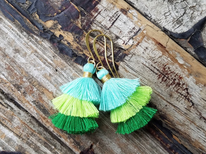 Ombre Tassel Earrings . Gold Statement Earrings . Teal Lime image 0