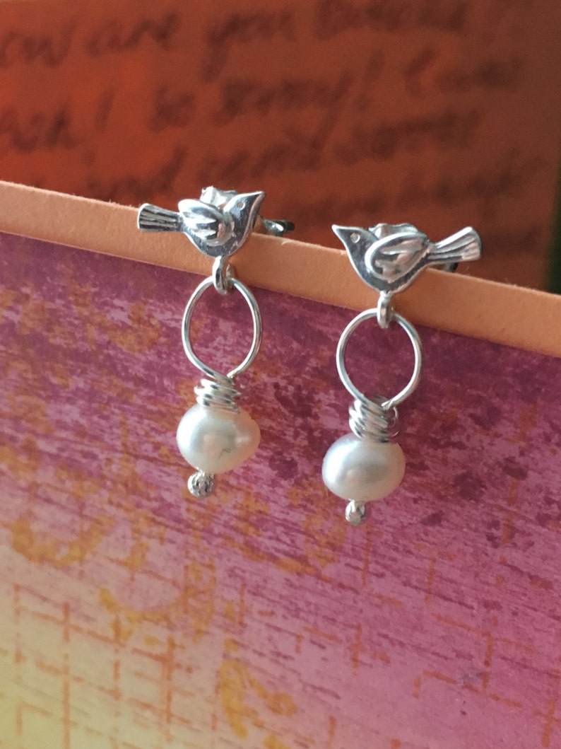 3af4caaf81fb8 Stud Earrings. Sterling Silver Pearl Bird Earrings. Love Birds Stud  Earrings. Small Bird Post Earrings. Bird Jewellery. UK Seller