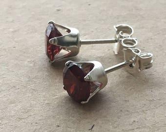 Red Cubic Zirconia Stud Earrings. Sterling Silver Earrings. 6 mm Red CZ Earrings. Wedding Earrings. Bridesmaid Earrings