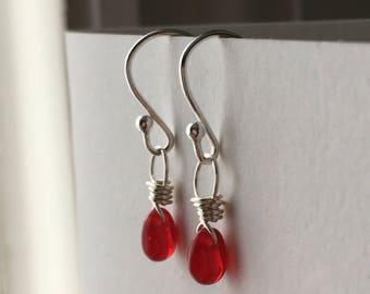 Red Extra Petite Teardrop Sterling Silver Earrings. Briolette Drop Earrings. Wire Wrapped Earrings. Wedding Earrings. UK Seller