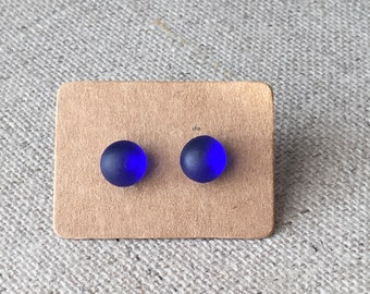 Cobalt Blue Vintage English Sea Glass Sterling Silver Stud Earrings. Gift For Her. Wedding Earrings