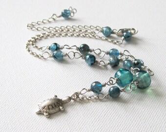 Blue Kyanite Lampwork Bead and Fair Trade Karen Hill Tribe Fine Silver Pond Turtle Pendant Sterling Silver Necklace & Earring Set UK Seller