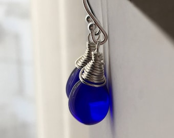Cobalt Blue Teardrop Earrings. Sterling Silver Earrings. Briolette Earrings. Wire Warpped Earrings. Wedding Earrings. Drop Earrings. UK Shop