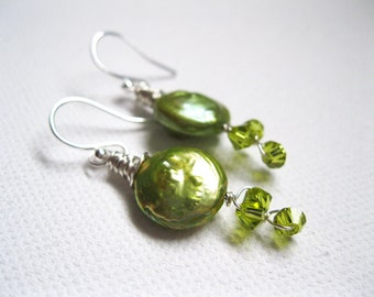 Green Freshwater Coin Pearl & Swarovski Crystal Sterling Silver Vine Earrings. UK Seller. Gift For Her