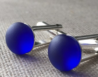 Cobalt Blue Vintage English Sea Glass Sterling Silver Cufflinks. Gift For Him. Wedding Cuff Links. Matching Earrings Available