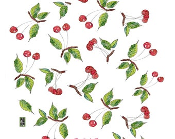 Red Cherries Tea Towel, designed by Judy Kahooti. every kitchen needs one!