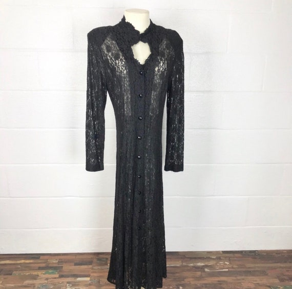 Vintage black lace Duster Overlay Dress Witchy Wom