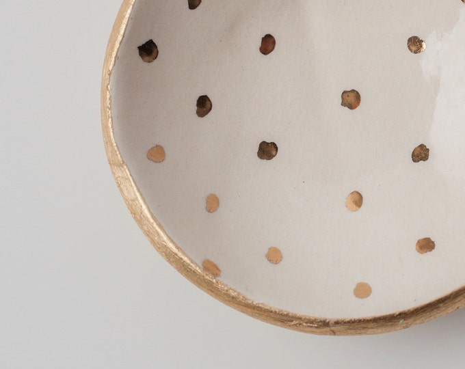 White and Gold Dot Dish