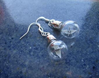 Origami Paper Crane Under Glass Earrings, Grey Crane In A Bottle