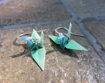 Origami Mini Paper Crane Earrings - Blue Green Ombre
