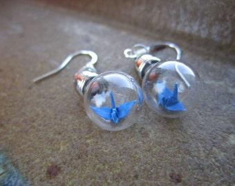 Origami Paper Crane Under Glass Earrings, Blue Crane In A Bottle