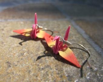 Origami Mini Crane Earrings - Pink, Yellow, Orange