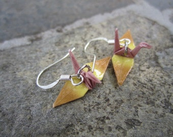Origami Mini Paper Crane Earrings - Brown, Yellow