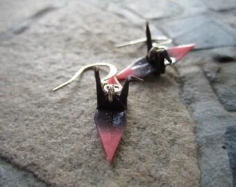 Origami Mini Paper Crane Earrings, Black, Pink