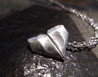 Fine Silver Hand Folded Origami Heart Necklace