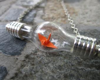 Origami Paper Crane Under Glass Bracelet, Orange Paper Crane In Bottle