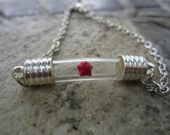Origami Lucky Star Under Glass Bracelet, Red Paper Star In Bottle