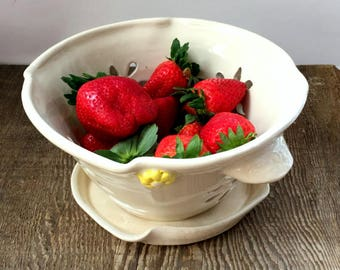 White Ceramic Berry Bowl or Colander with  Saucer and Yellow Flowers  Stoneware Pottery Ready to Ship Gift for Her