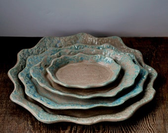Set of Four Tan Nesting Plates or Bowls With Aqua Textured Edges Hand Built Stoneware Clay Pottery Ready to Ship