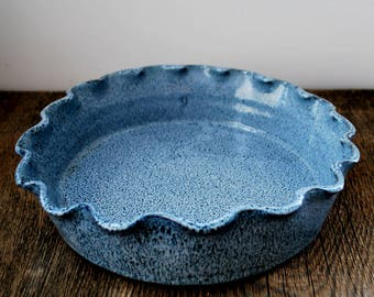 Cobalt Blue Ruffled Rim Deep Dish Pie Plate Stoneware Pottery Ready to ship & Ceramic pie plate | Etsy